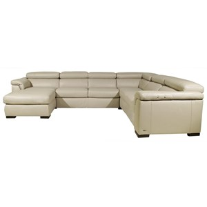 Contemporary Leather Sectional Sofa with LAF Chaise