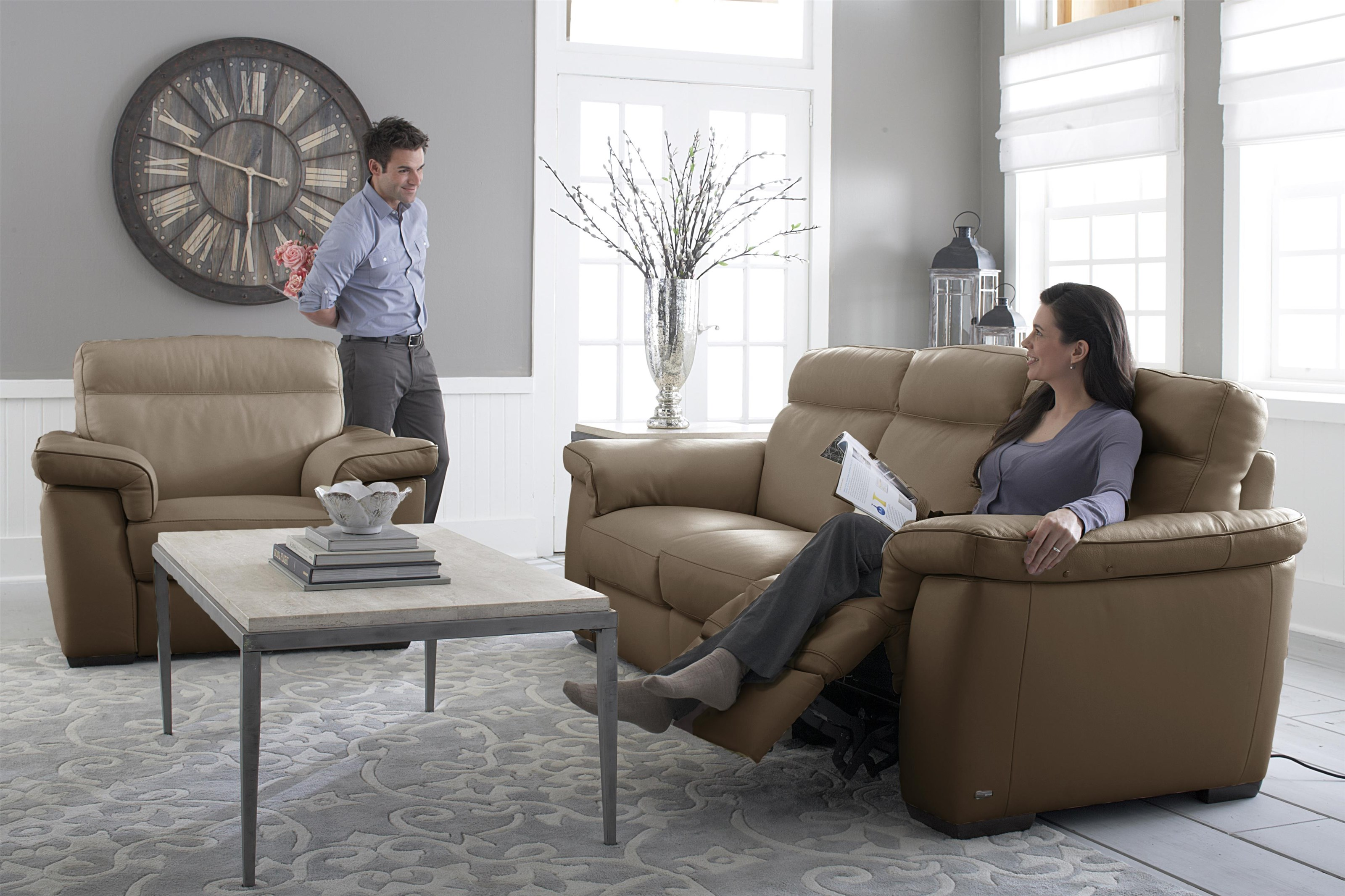 B757 Special Purchase Tan Leather Power Recliner by Natuzzi Editions at Baer's Furniture