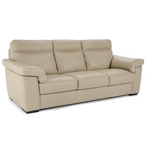 Contemporary Stationary Sofa with Padded Headrests and Block Wood Feet