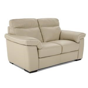 Contemporary Power Reclining Love Seat with Plush Pillow Arms