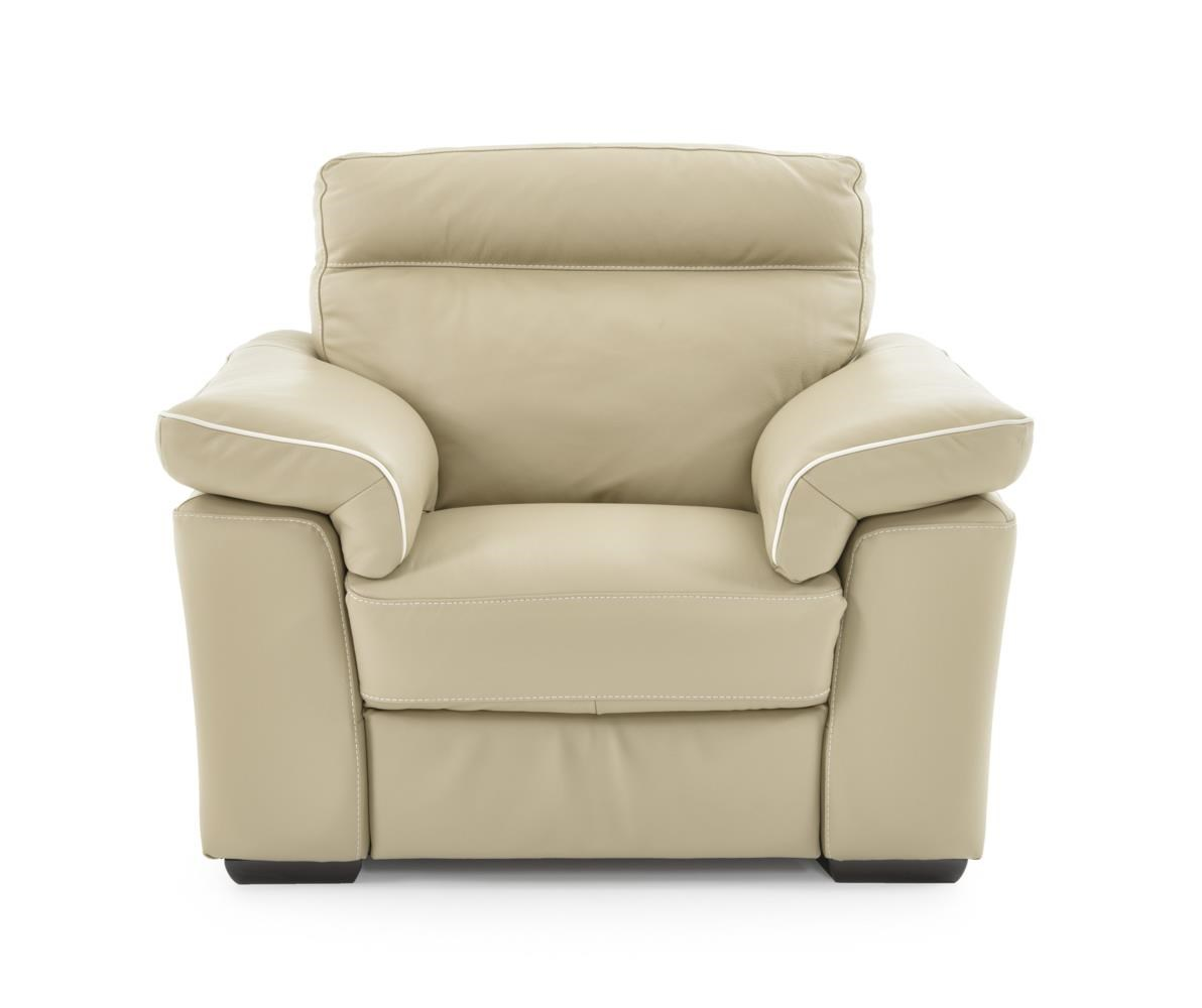 Contemporary Power Reclining Chair Padded Headrests and Block Wood Feet
