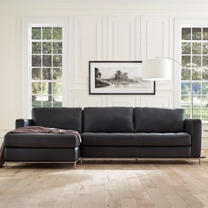 Left Arm Facing Sofa Chaise with Button-Tufted Seat and Metal Legs