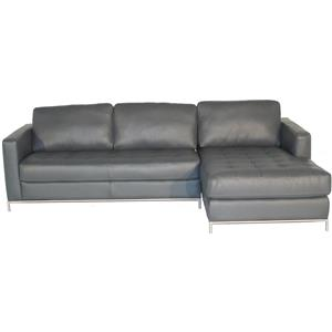 Right Arm Facing Sofa Chaise with Button-Tufted Seat and Metal Legs