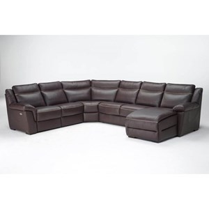 Casual 6 Seat Power Reclining Sectional with RAF Chaise
