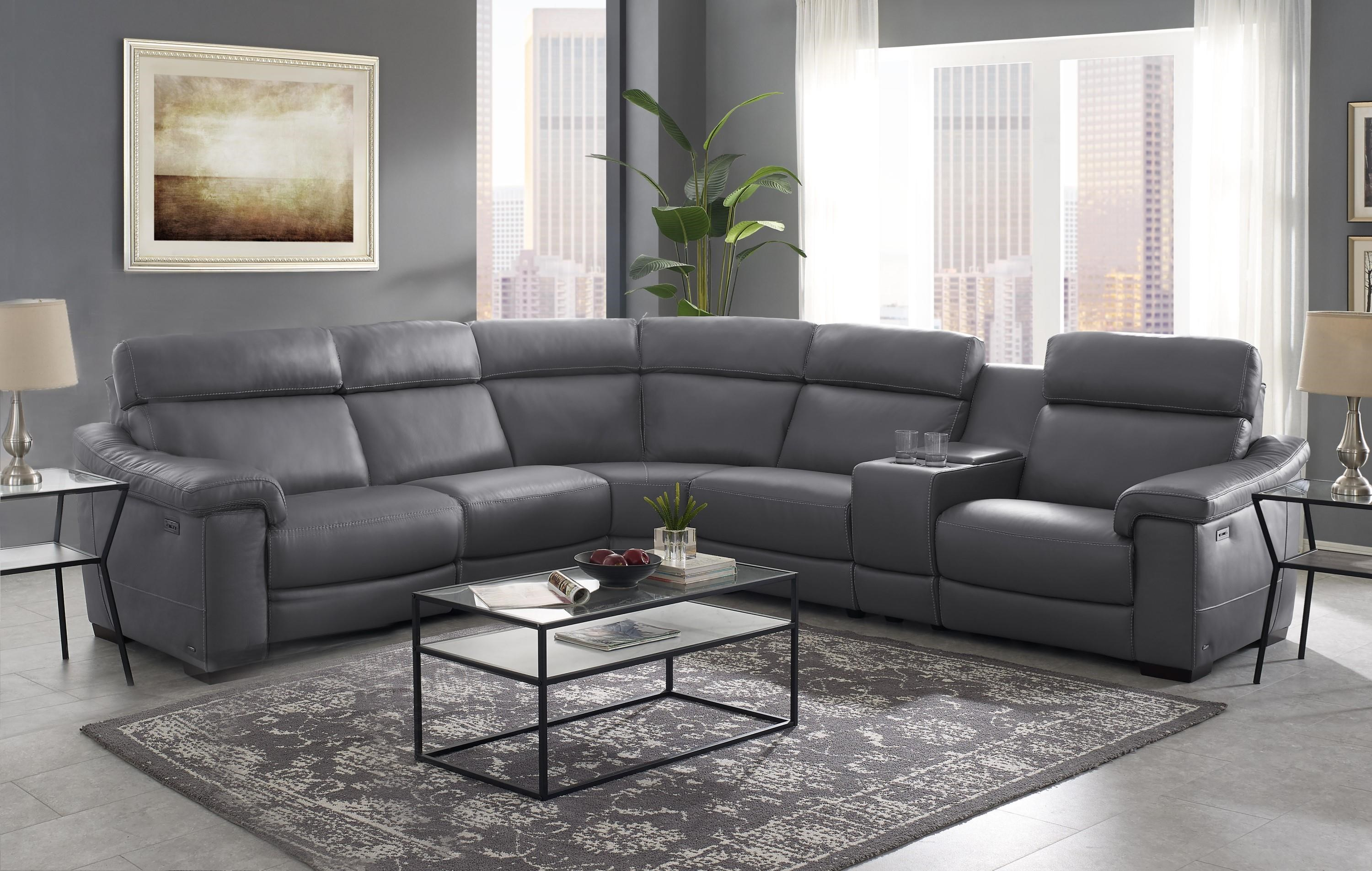 Giulivo Power Reclining Sectional Sofa by Natuzzi Editions at Baer's Furniture