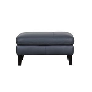 Leather Cocktail Ottoman with Tapered Legs