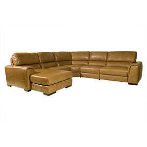 Contemporary Reclining Sectional Sofa with Padded Track Arms