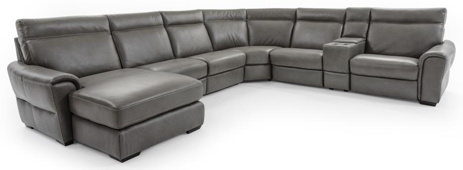 Contemporary 7 Pc Power Reclining Sectional with USB