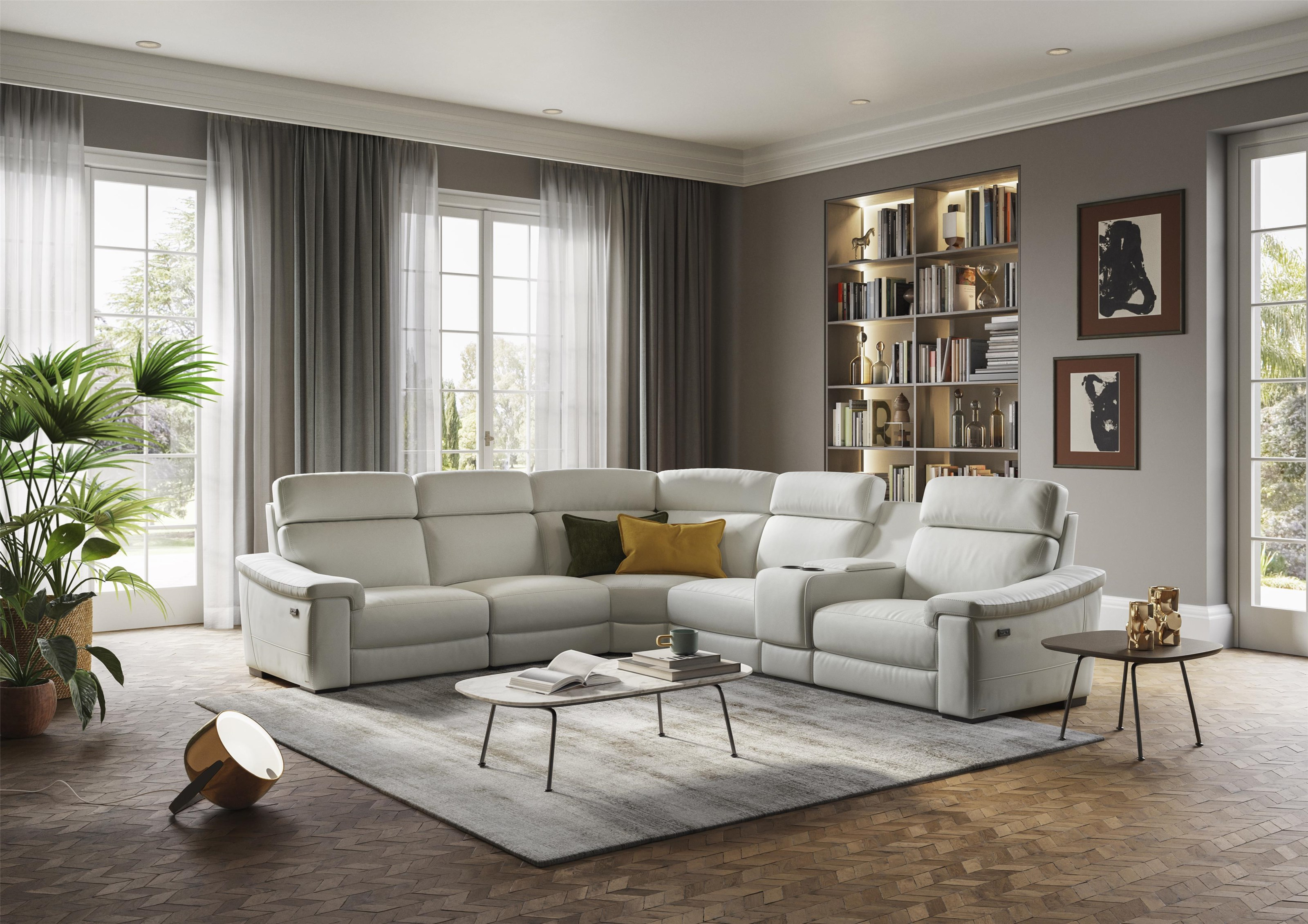 Giulivo White PowerLeather Sectional by Natuzzi Editions at Baer's Furniture