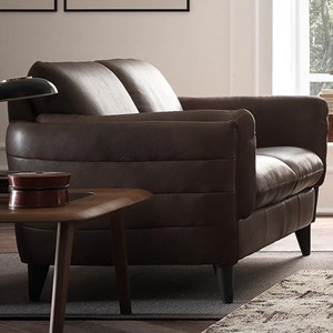 Contemporary Loveseat with Tapered Arms