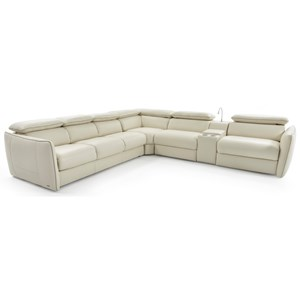 Contemporary Power Reclining Sectional Sofa with Sleeper Sofa