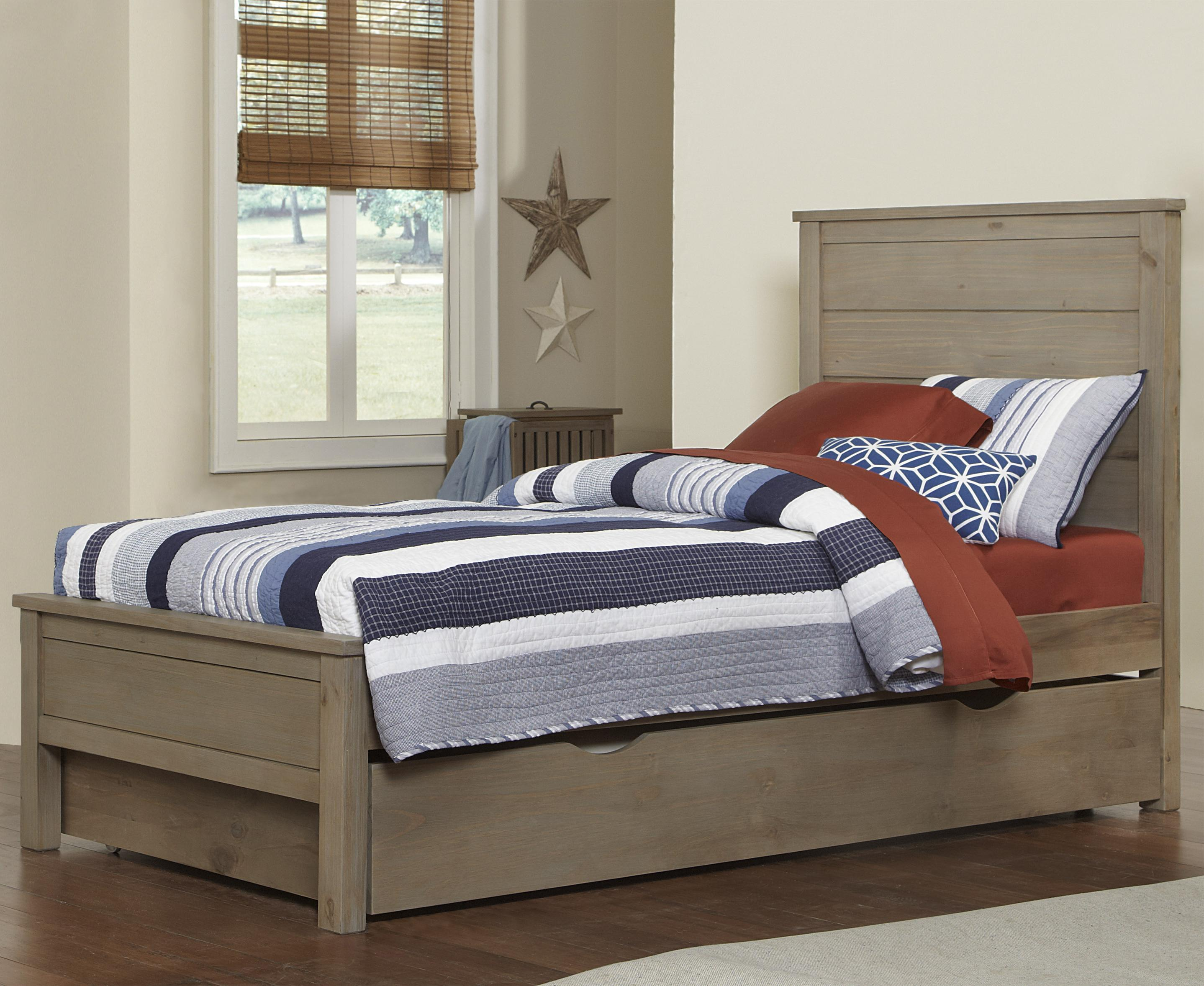 Highlands Twin Alex Flat Panel Bed with Trundle by NE Kids at Stoney Creek Furniture