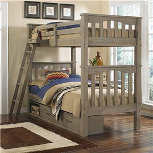 NE Kids Highlands Twin Over Twin Harper Bunk Bed With Storage
