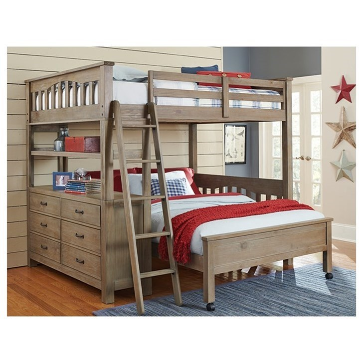 Highlands Twin Loft Bed with Lower Bed by NE Kids at Stoney Creek Furniture