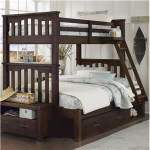 NE Kids Highlands Twin Over Full Bunk Bed with Storage