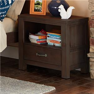 Single Drawer Night Stand with Cubby