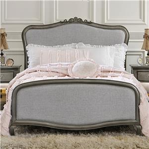 Full Upholstered Katherine Bed with Scroll Carvings