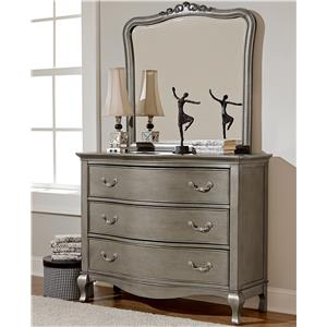 Single Dresser and Mirror Set with 3 Drawers