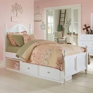 Twin Bed with Arched Headboard and Underneath Storage