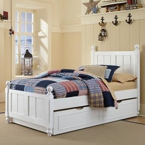 Twin Panel Bed with with Chamfered Posts, Ball Finials and Trundle