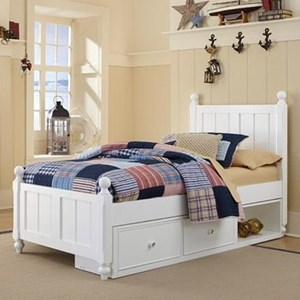 Twin Panel Bed with Chamfered Posts, Ball Finials and Underneath Storage