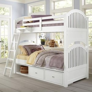 Twin Bunk Bed with Arched Headboard and Footboard and Underneath Storage