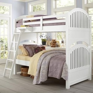 Twin over Twin Bunk Bed with Arched Headboard and Footboard