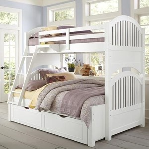 Twin Over Full Bunk Bed with Arched Headboard and Footboard and Trundle