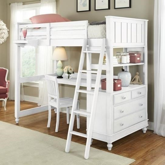 Lake House Twin Loft Bed with Desk by NE Kids at Furniture Barn