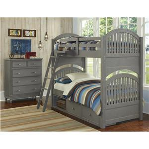 NE Kids Lake House Twin Storage Bunk Bed