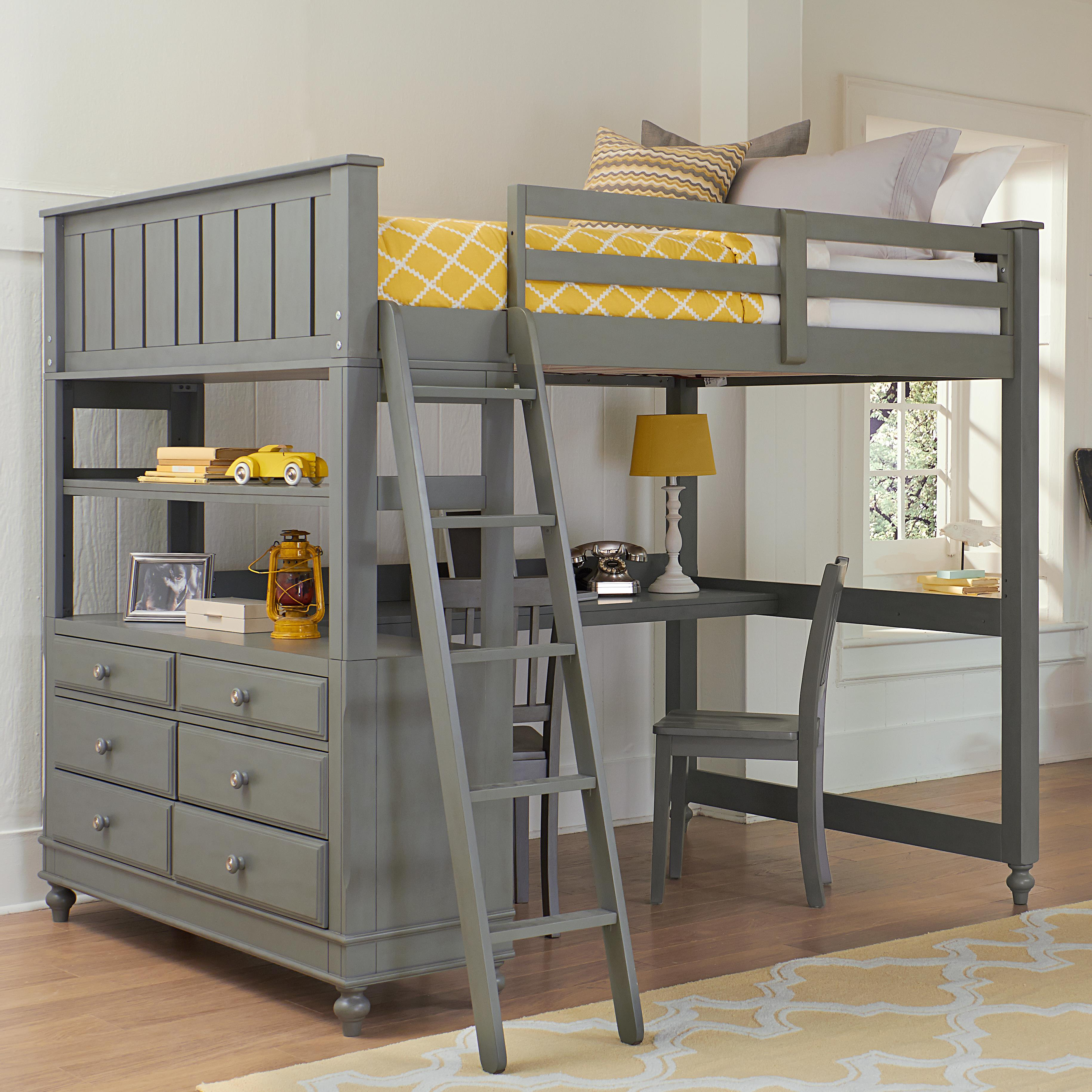 Lake House Full Loft Bed with Desk by NE Kids at Darvin Furniture