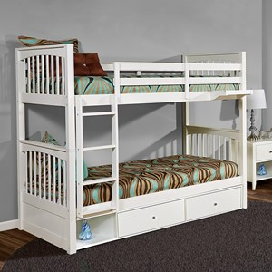 Mission Twin over Twin Bunk Bed with Storage