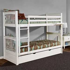 Mission Style Twin Over Twin Bunk Bed with Trundle