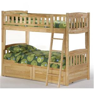 NE Kids Spice Natural Twin/Twin Spice Bunk Bed with Drawers