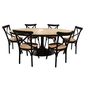 Oval Natural Wood Dining Table with Six Iron and Wood Chairs