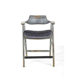 Wagner Counter Chair in Distressed Blue and Vintage Pewter