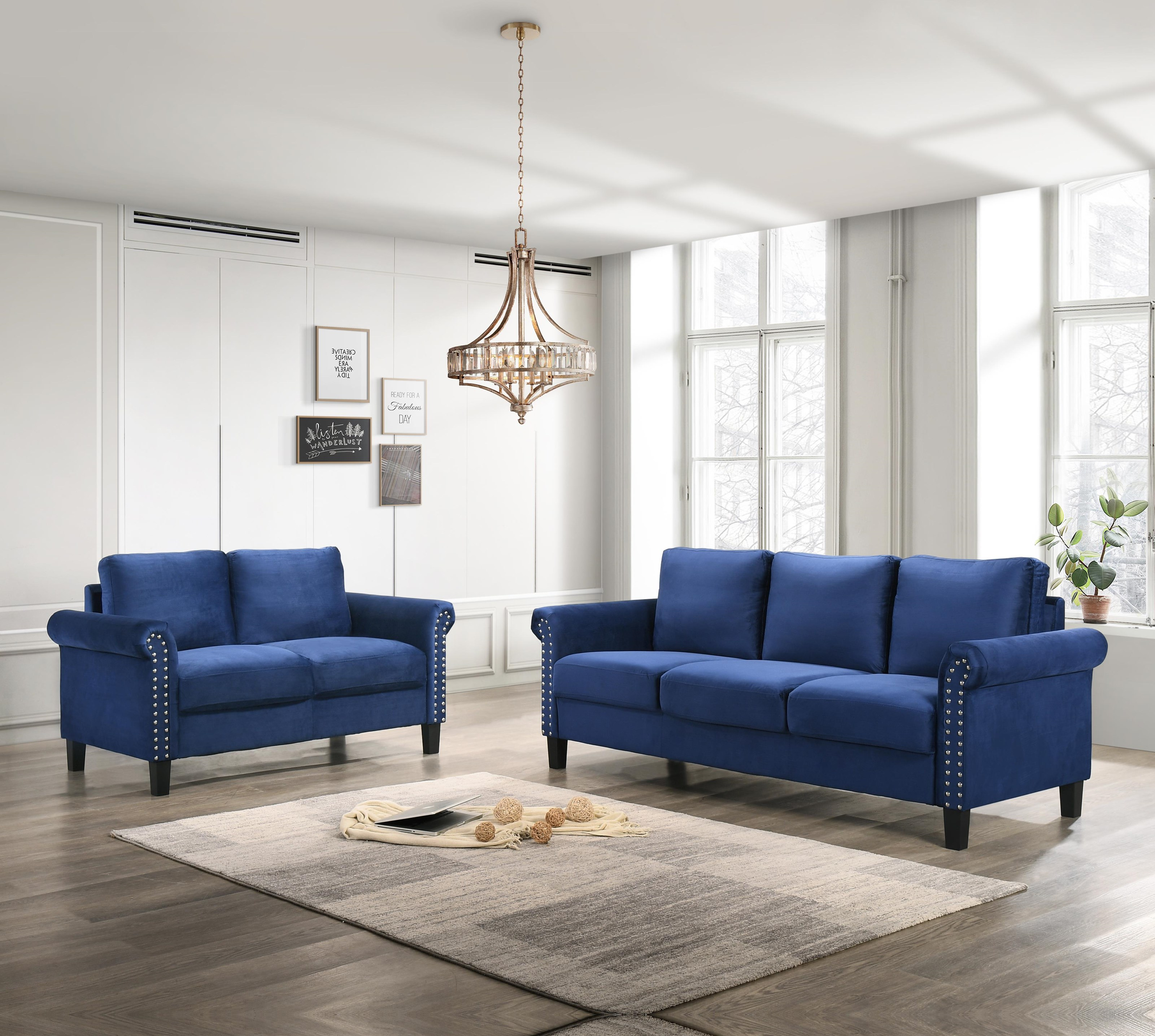 Alani Blue Nailhead Sofa and Loveseat Set by New Classic at Sam Levitz Outlet
