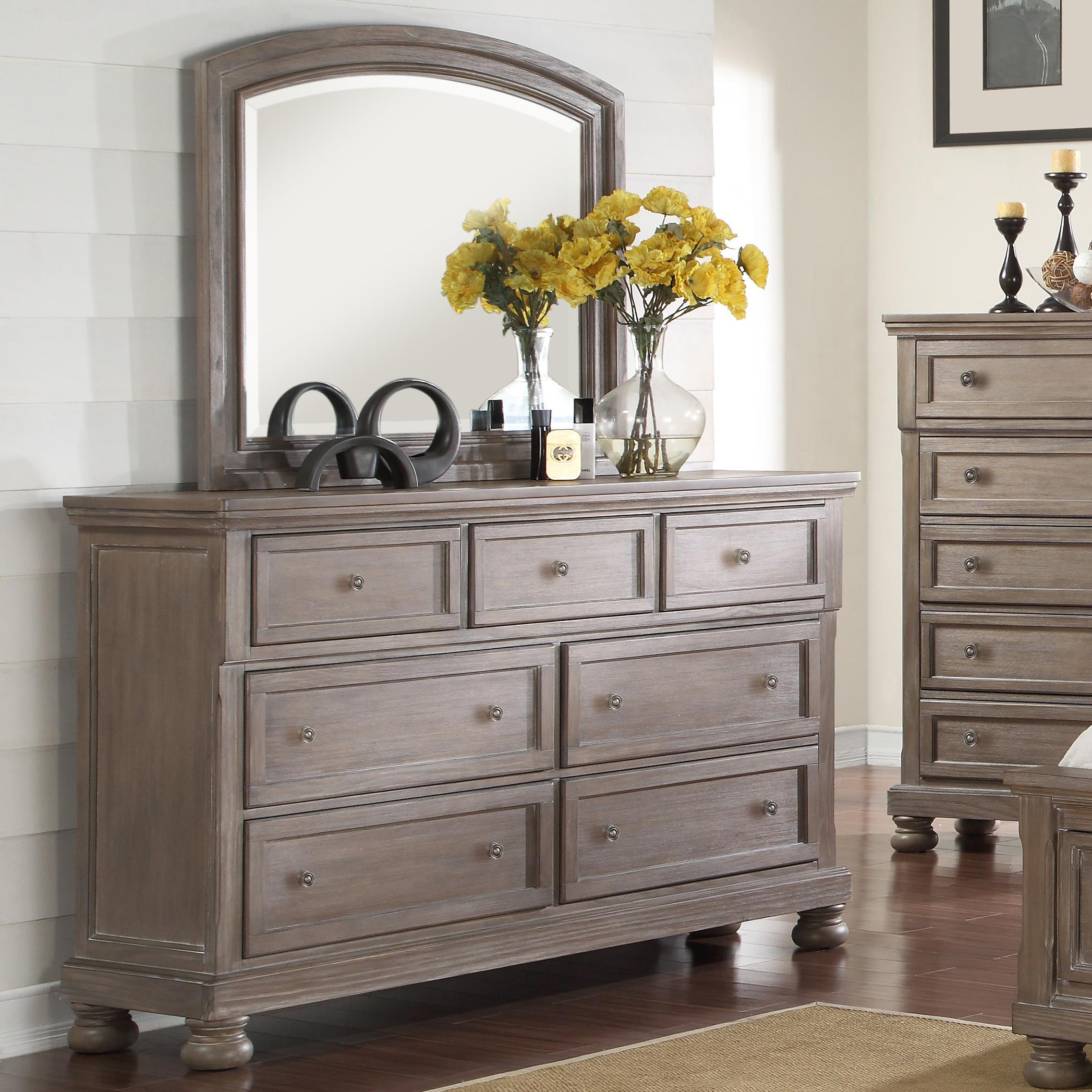 Allegra Dresser & Mirror Set by New Classic at Beds N Stuff