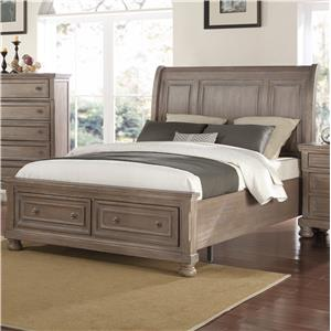 Queen Low Profile Bed with Footboard Storage