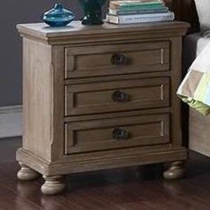 Youth Bedroom Three Drawer Nightstand with USB Charging Port
