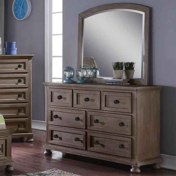 Allegra Dresser + Mirror Set by New Classic at Beds N Stuff