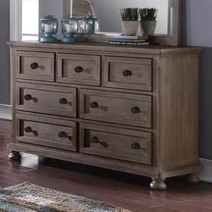 Youth Bedroom Seven Drawer Dresser with Felt Lined Top Drawers