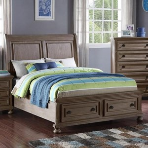 Full Sleigh Bed with Footboard Storage