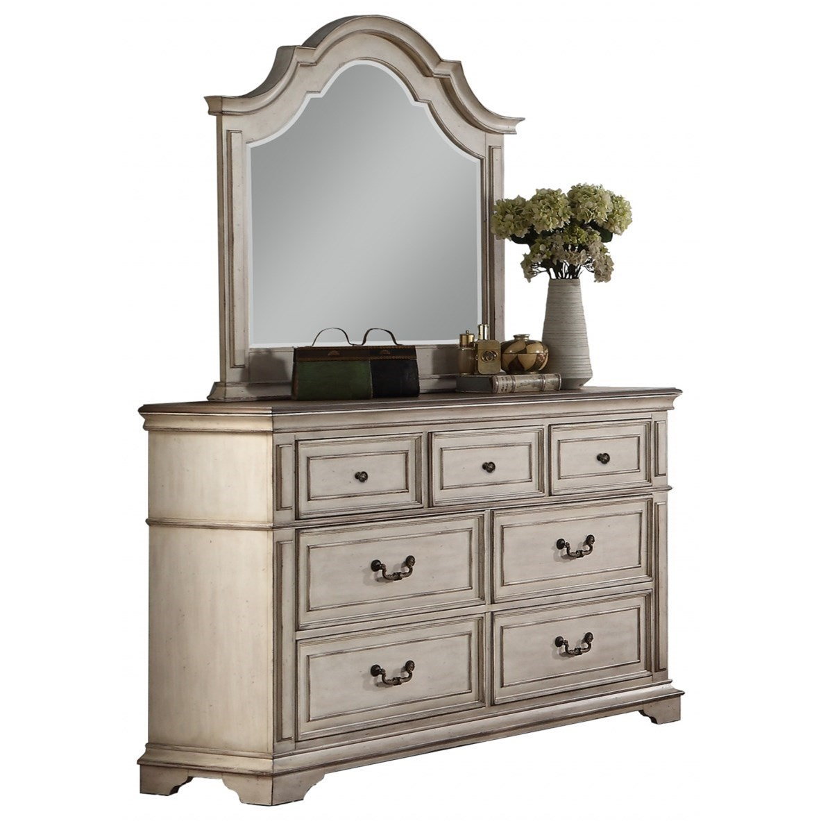 Anastasia Dresser and Mirror Set by New Classic at Beds N Stuff