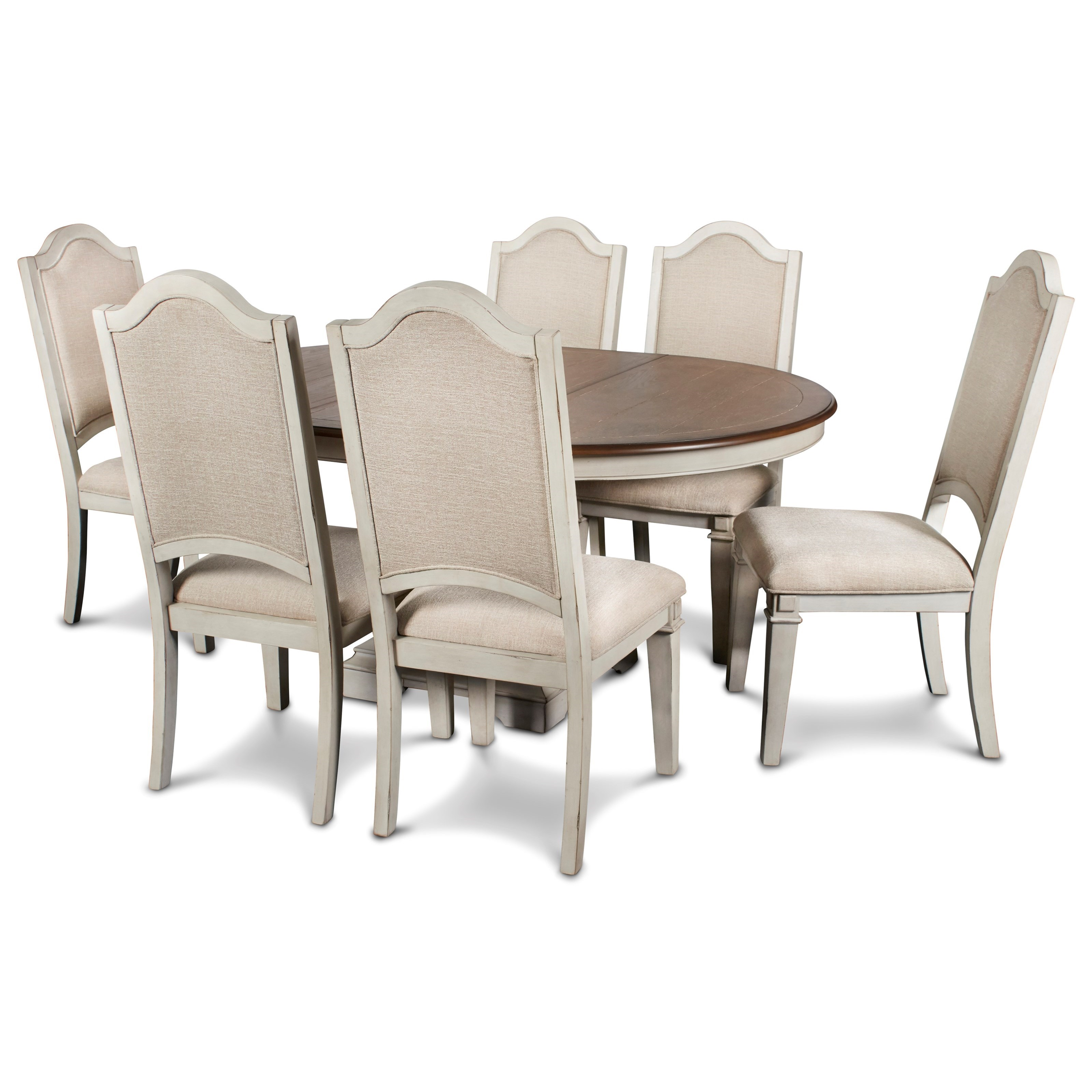 Anastasia 7-Piece Table and Chair Set by New Classic at Beds N Stuff