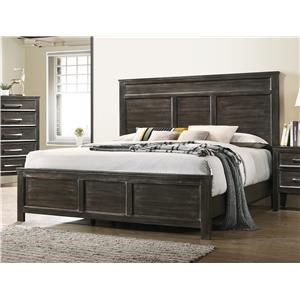 Transitional Queen Panel Bed with Decorative Molding