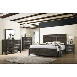 Dresser, Mirror and Complete Queen Bed, Headboard, Footboard and Rails