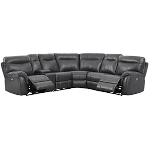 Casual 5 Seat Power Sectional with Storage Console