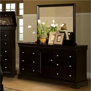 Six Drawer Dresser and Landscape Mirror Combination