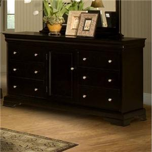 Six Drawer Dresser with Center Door and Adjustable Shelf
